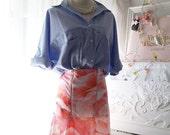 Women's Fashion Coral Pink Abstract Flroal Print Zipper High Waist Mermaid Skirt Hipster