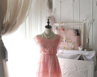 Pink Lace Chiffon Dress Lace Corchet Shoulder Cape pleated Pink Dress Pastel Romantic Boho