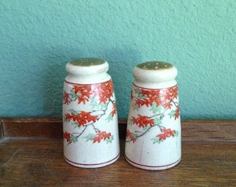 Vintage 30s/40s Salt and Pepper Shakers with Hand Painted Japanese Maple Leaves