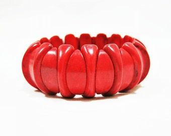 Red Stone Bracelet, Stone Stretch Bracelet, Red Bracelet, Red Gemstone Bracelet, Colorful Bracelet, Boho Bracelet, Unique Bracelet