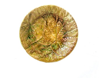 Antique Majolica Plate Overlapping Begonia Leaves 1880s
