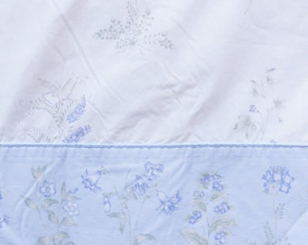 Twin Flat Sheet, Laura Ashley Floral Bed Sheet, Lavender and White Bedding