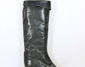 Vintage 80s Grey Leather Stove Pipe Knee High Boots/Pirate Boot Unworn Deadstock Boot/Pull on Hipster Grunge Boots SZ 9