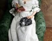 Evening Rain, Edwardian OOAK Polymer Hand Sculpted Fantasy Art Doll Collectible
