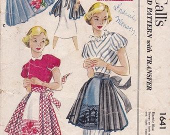 1950s Pleated Short Apron Pattern McCalls 1641