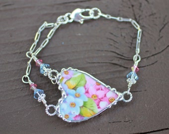 Bracelet, Broken China Jewelry, Broken China Bracelet, Pink and Blue Floral Chintz, Sterling Silver Chain, Soldered Jewelry