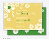 "Daisy Shower Party Invitation Printable ""He Loves Me"""