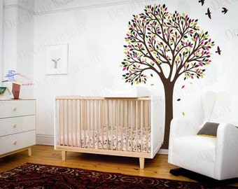 Tree Wall Decal Nursery Decals Kids Room Large Stickers Birds Wall Mural Bedroom Living Room Nature Decal Wall Art Home Removable Vinyl