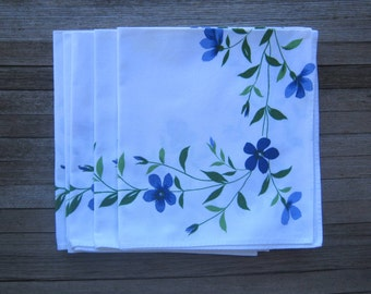 Set of 4 Blue Posy Print Napkins; Made in France~White & Blue Flower Print Cotton Table Napkins~Garden Party/Brunch Napkins; Free Ship/U.S.