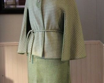 Vintage 1960s Wool Skirt and Reversible Cape Set, Cream and Moss Green Houndstooth