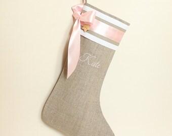 Baby Christmas stocking 2017 years Girls Christmas stocking Personalized Christmas stocking Pink Christmas stocking