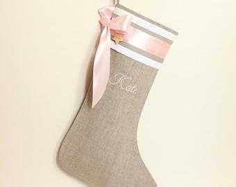 Baby Christmas stocking Girls Christmas stocking Personalized Christmas stocking Pink Christmas stocking