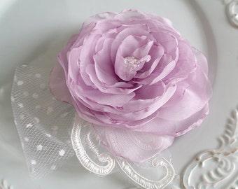 Lavender Silk hair flower Clip Lace Veil Rhinestone Purple Bridal Rustic Wedding hairpiece headpiece Fascinator Lavender Hair Accessories