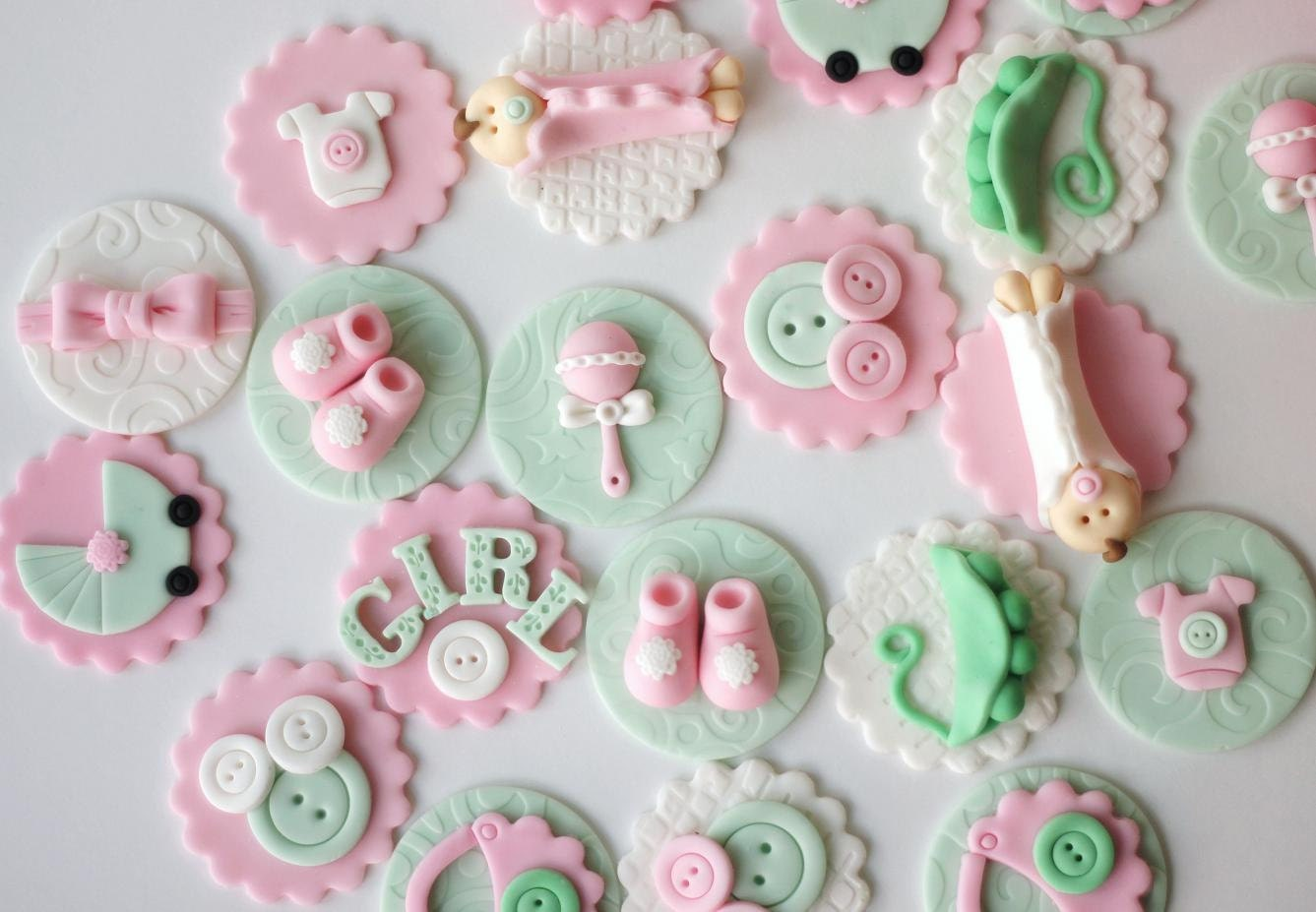 Baby Shower Fondant Cupcake Toppers Pink Baby Shower Fondant