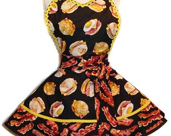 "Exclusive ""Eggs And Bacon"" Retro Apron-Ready To Ship & Only from Tie Me Up Aprons"
