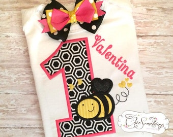 Bee shirt, bee birthday shirt, bumble bee birthday, first birthday shirt,bee first birthday shirt, bee tutu, pink bee shirt, pink bumble bee