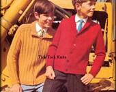 No.426 PDF Vintage Knitting Pattern Boy's, Teens & Men's Classic Cardigan Sweaters - Jacket 1960's Retro Knitting Pattern - Inst Download