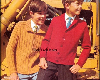 No.426 PDF Vintage Knitting Pattern Boy's, Teens & Men's Classic Cardigan Sweaters - Jacket 1960's Retro Knitting Pattern - Inst Download