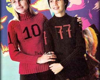No.430 PDF Vintage Knitting Pattern For Teen Boys And Girls - His & Hers Sports Number Sweater - Football Basketball School Spirit Pullover
