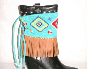 Aztec Boot Cuffs DEPOSIT Special Order With Leather Fringe Made From Recycled Upcycled Sweaters Indian Seed Beads Boot Wraps Toppers