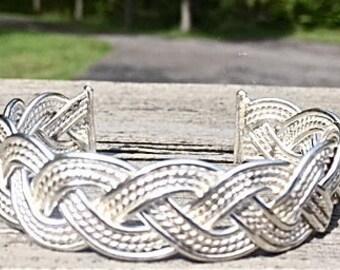 Heavy 16 gauge sterling wire woven cuff bracelet
