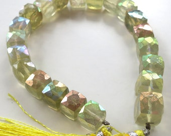 AB Lemon Quartz Faceted Cubes - 1/2 Strand
