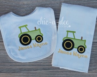 Personalized Tractor Bib & Burp Cloth
