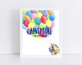 Adventure Is Out There Watercolor Painting Art Print || disney up inspired, wall art, balloons, nursery, original watercolor painting