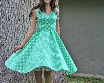 50's/60's  Vintage Fit and Flare Dress, Polka-Dot Dress, Green Dress, 50's Retro Dress