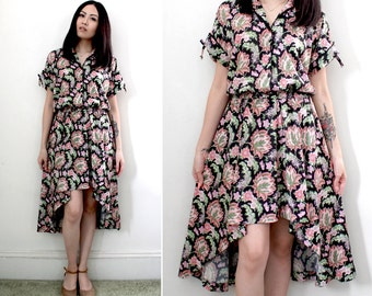 Vintage Boho Chic Floral Print Asymmetrical Hem Jersey Dress - Fits Sizes Small to Large
