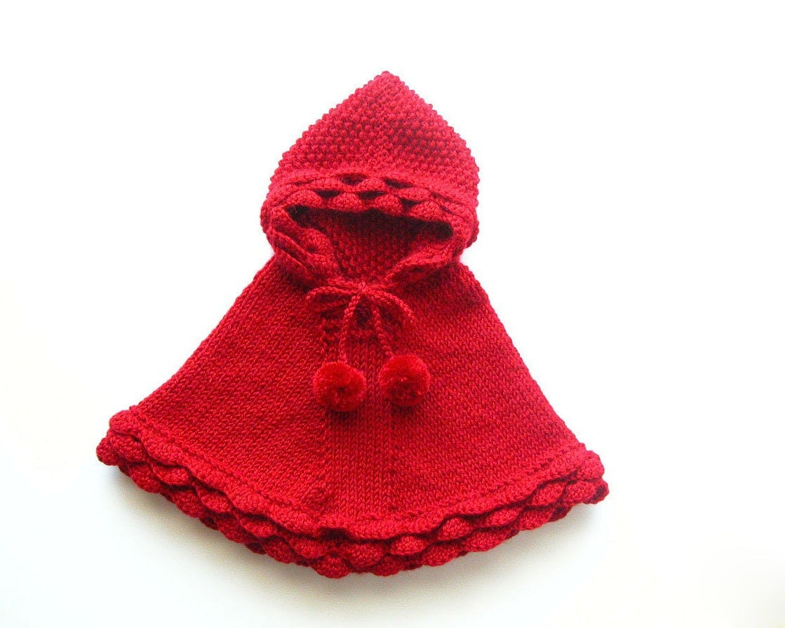 Hooded Toddler Poncho Knitting Pattern : Baby Girl Knit Poncho Little Red Riding Hood Toddler Hooded