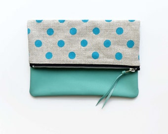 SALE! Turquoise Canvas and Leather Foldover Clutch, Polka Dot Envelope Bag, Soft Leather Tablet Sleeve Zipper Pouch Handmade Indie Fashion