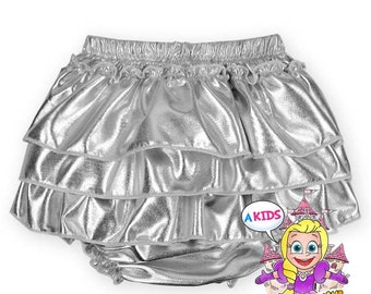 Girls silver metallic bloomers ruffle bloomers silver bloomers baby bloomers birthday bloomers silver diaper cover