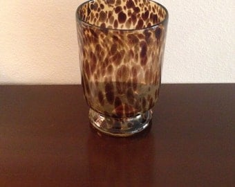 Tortoise Shell Glass Candle Holder or Vase