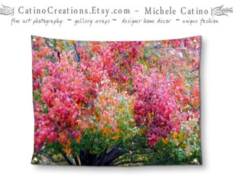 Autumn Art Foliage Tapestry Dramatic Redbud Tree in Fall Colors Large Wall Hanging Texas Landscape  banner dorm room & home decor