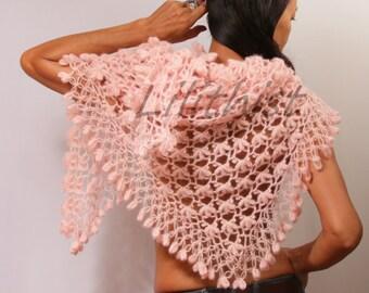 Pink Bridal Shawl Wrap, Crochet Shawl, Bridal Shrug Shawl Bolero, Triangle Mohair Shawl, Bridal Wrap, Shrug, Romantic Wedding Cover Up
