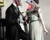 Turkey Toast - Vintage Turkey Print - Anthropomorphic Art - Altered Photo - Gift Idea - Funny Animal - Digital Art - Whimsical - Bird Art