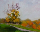 Plein Air Landscape Original Oil Painting- Autumn Fall Colors-Small Impressionist Painting-Fall Foliage-calm-serene-Affordable unique gift