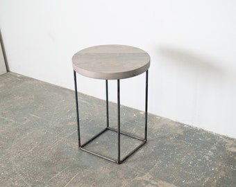 Crescent Side Table - Solid Oxidized Maple with Blackened Steel Base
