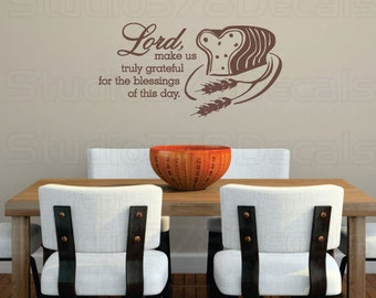 Vinyl Wall Lettering Decal - Lord Make Us Truly Grateful - Thankful Decorations - Wall Art Quote - Vinyl Wall Sticker - 11 x 22