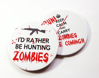 Zombie Coasters, Drink Coasters, Set of Coasters, Coasters, Wine Coasters, Hunting Zombies, Zombies are coming, Zombie (5104)