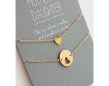 Mother Daughter Bracelet Set - gold hearts - mother daughter jewelry - mother bracelet - wedding jewelry - personalized - valentine gift