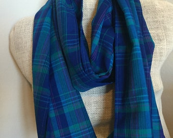 Plaid Blue Scarf - Green, Pink, Blue Cotton Fall Scarf