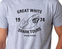 MENS Great White Shark Tours T-Shirt funny, sharks shirt, perfect gift for diver, swim team,surfer,ocean lover,back to school in style S-5XL