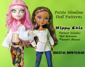 70s Hippy Boho Bellbottoms and Peasant Shirt Doll Clothes Pattern for Petite Slimline Dolls: Monster High, Ever After High, Dal & Similar