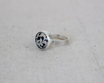 Dalmatian Jasper Ring, Stone Ring, Stacking Ring, Sterling Silver Ring