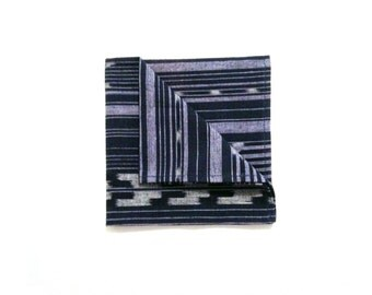 Navy Ikat Pocket square, guatemalan handwoven