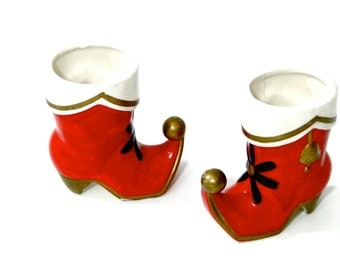 Vintage Holt Howard Christmas Pixie Boots // 1960s Mod Ceramic Porcelain Holiday Accents Decor Signed Collectible Figurines
