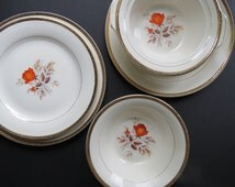 Triumph China Serving Pieces Set // Vintage Vermillion Rose American Limoges 1950's Era Serving Bowls and Platters 5 Piece Set Gold Orange