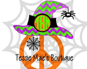 Monogram Peace Sign Witch Hat Instant Download SVG, DXF, EPS